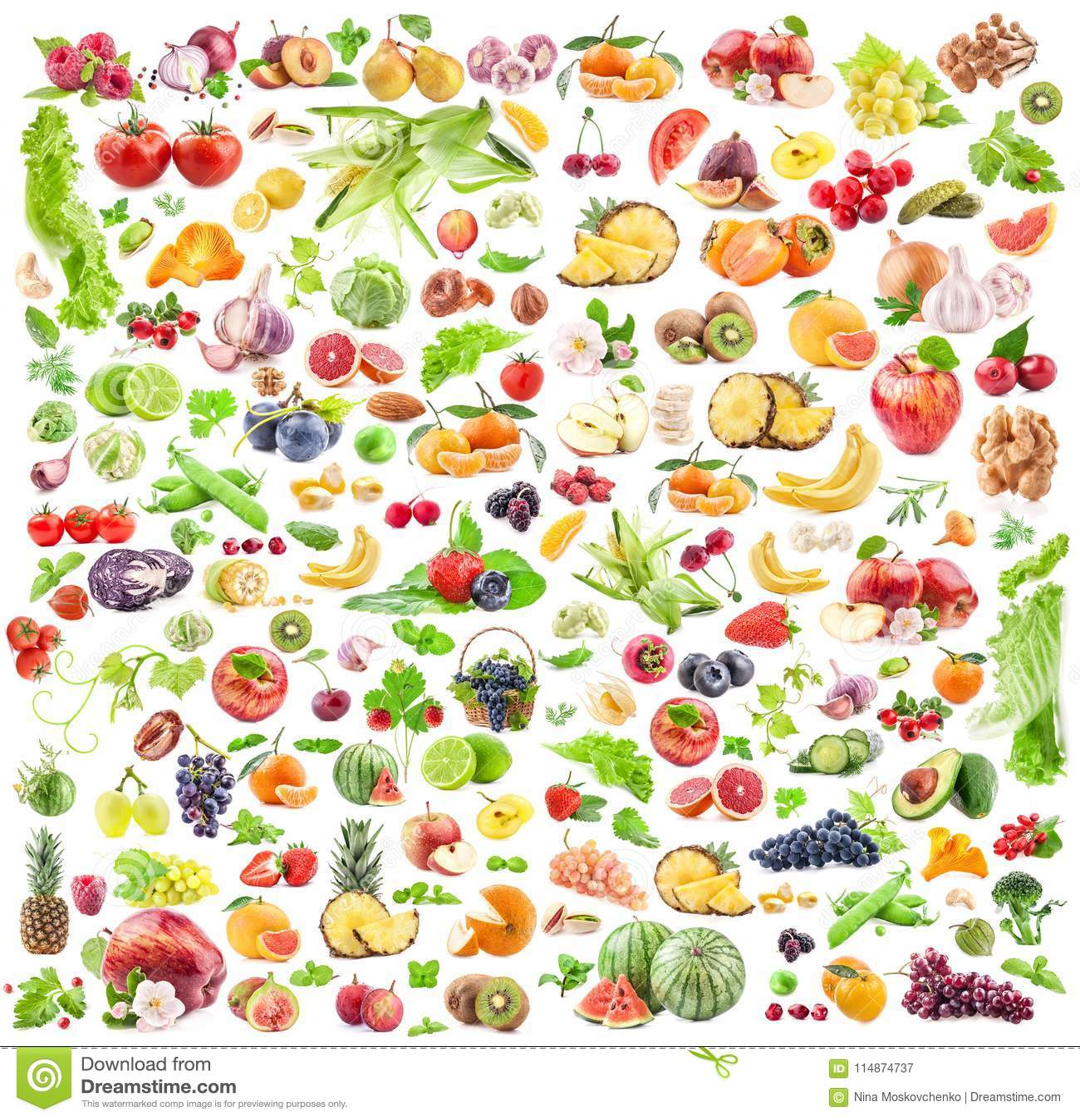 Fundo das frutas e verdura Coleção grande das frutas e legumes isoladas no fundo branco