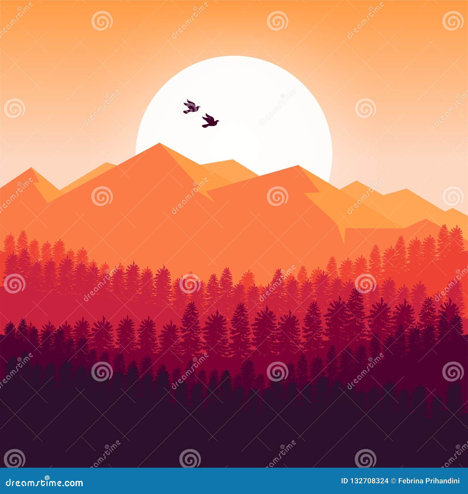 Fundo das montanhas no projeto do por do sol