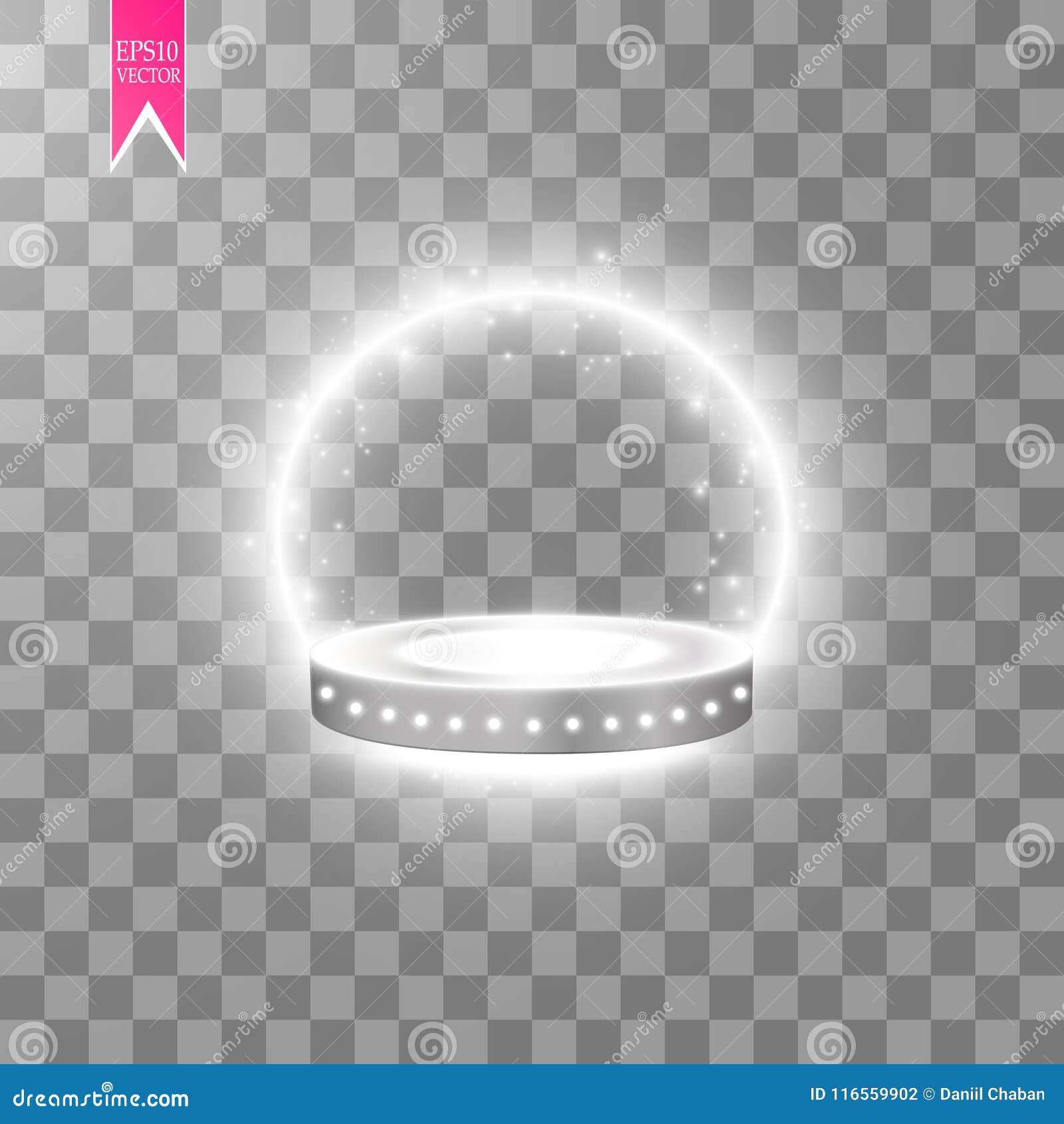 Fundo de brilho abstrato do pódio com projetores Cena de brilho branca Você ganha o luxo, o sucesso e o projeto do tesouro