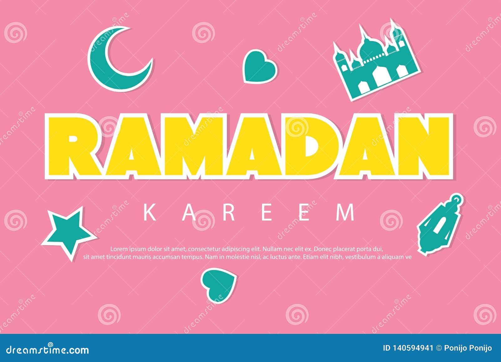 Fundo de cumprimento do kareem da ramadã com etiquetas Lua, mesquita, estrela, lanterna e amor crescentes