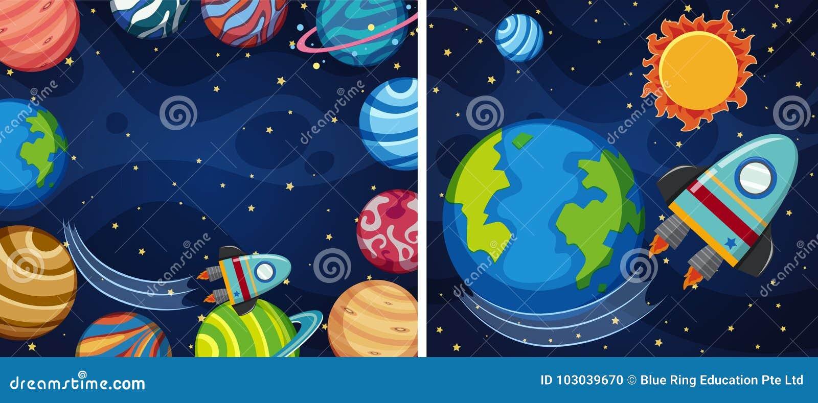 Fundo de dois espaços com planetas e foguete