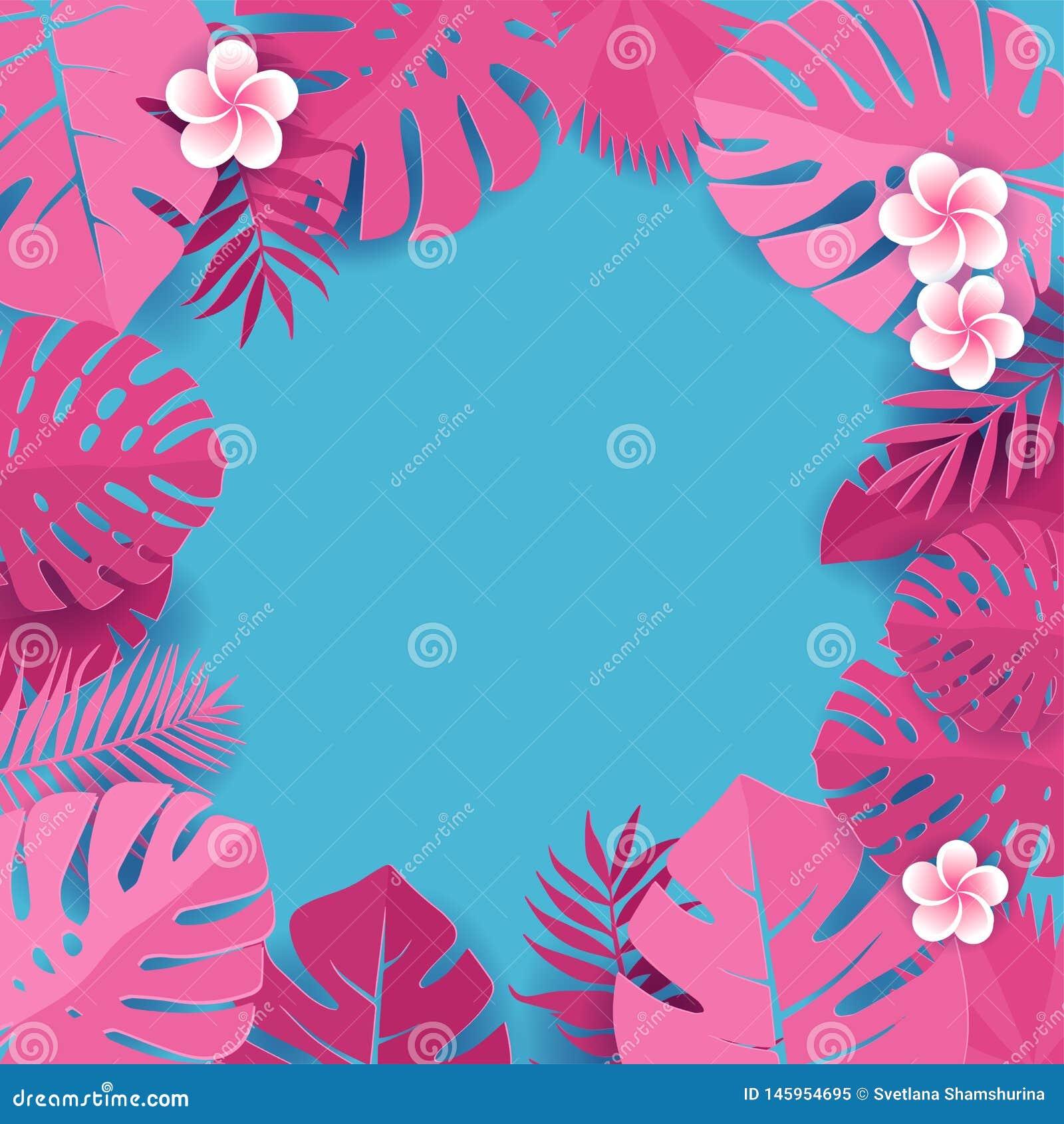 Fundo de folhas de palmeira cor-de-rosa no contexto azul Quadro das folhas tropicais do monstera com flores do frangipani Cart?o