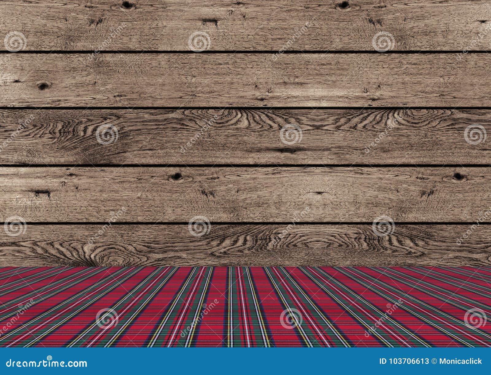Fundo de madeira do Natal do tradional rústico com terra vermelha e verde do teste padrão da manta