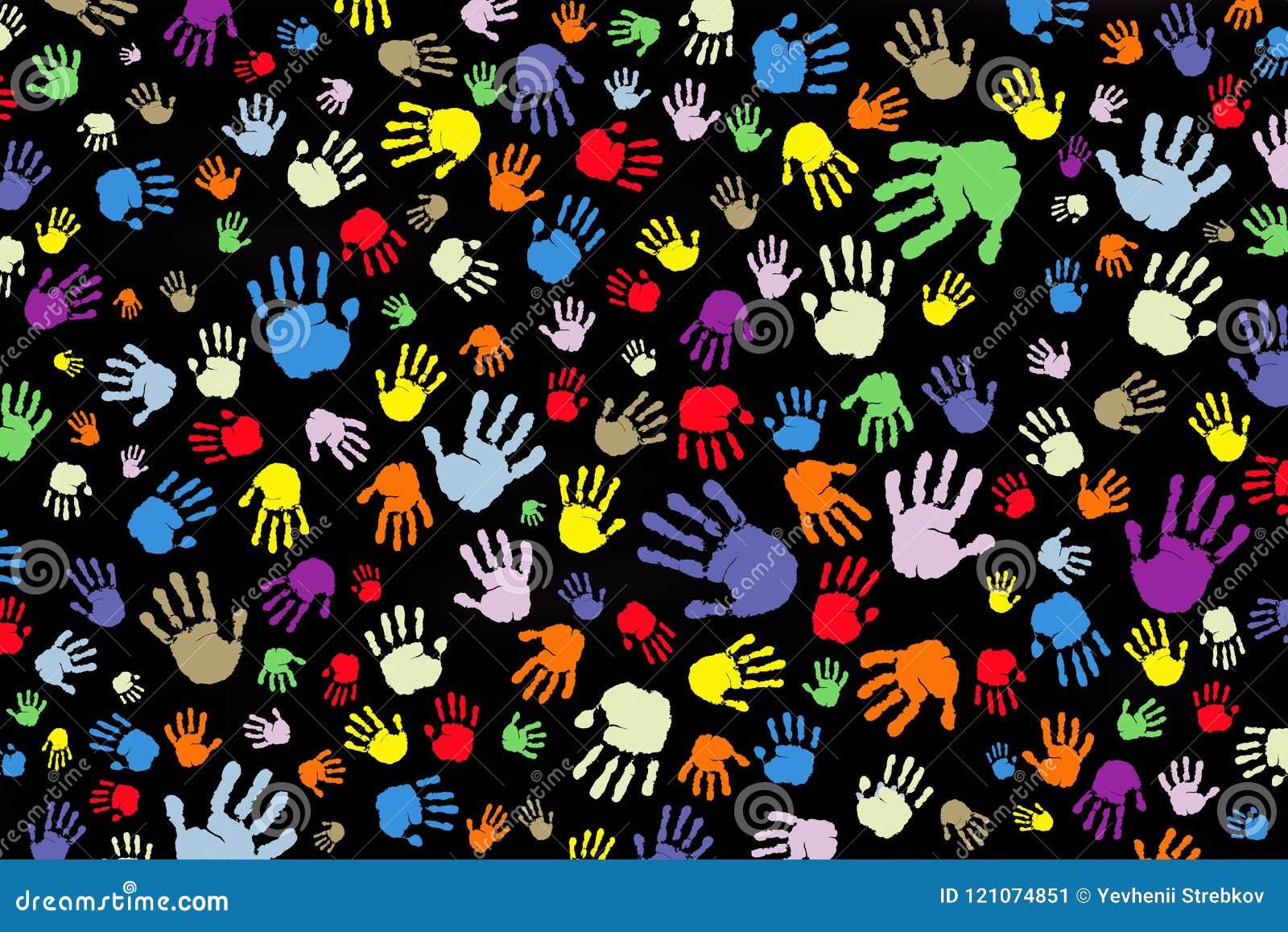 Fundo de muitas cópias de cor das mãos em um fundo preto