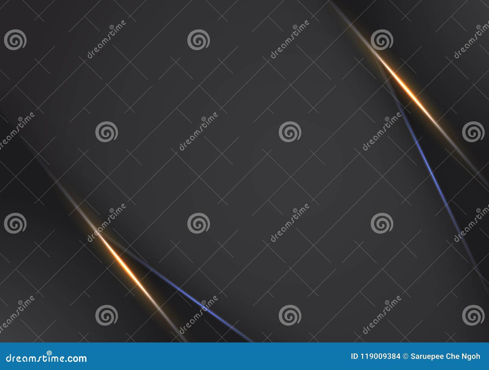 Fundo de néon claro moderno do fundo do molde do projeto da tecnologia da disposição preta alaranjada metálica abstrata do quadro