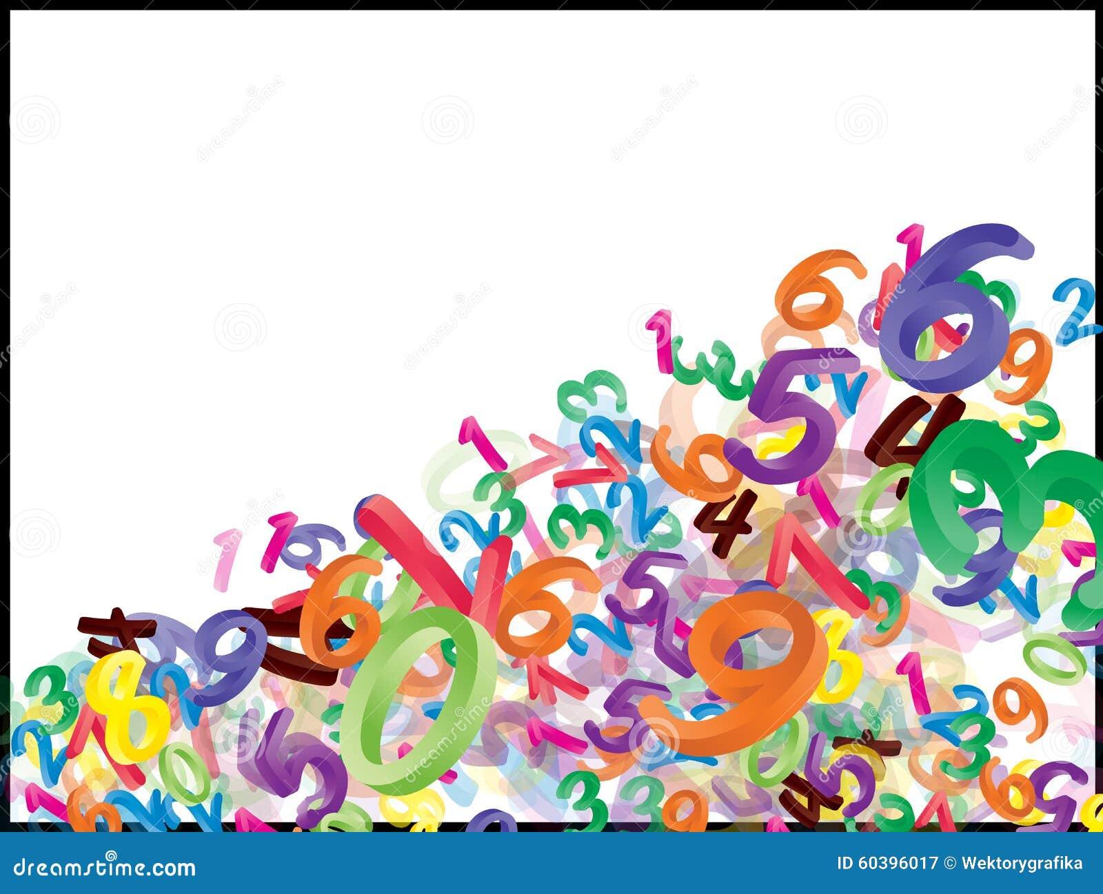 Fundo de números de queda dos desenhos animados, dígitos Ilustração engraçada, alegre e colorida para crianças no fundo branco