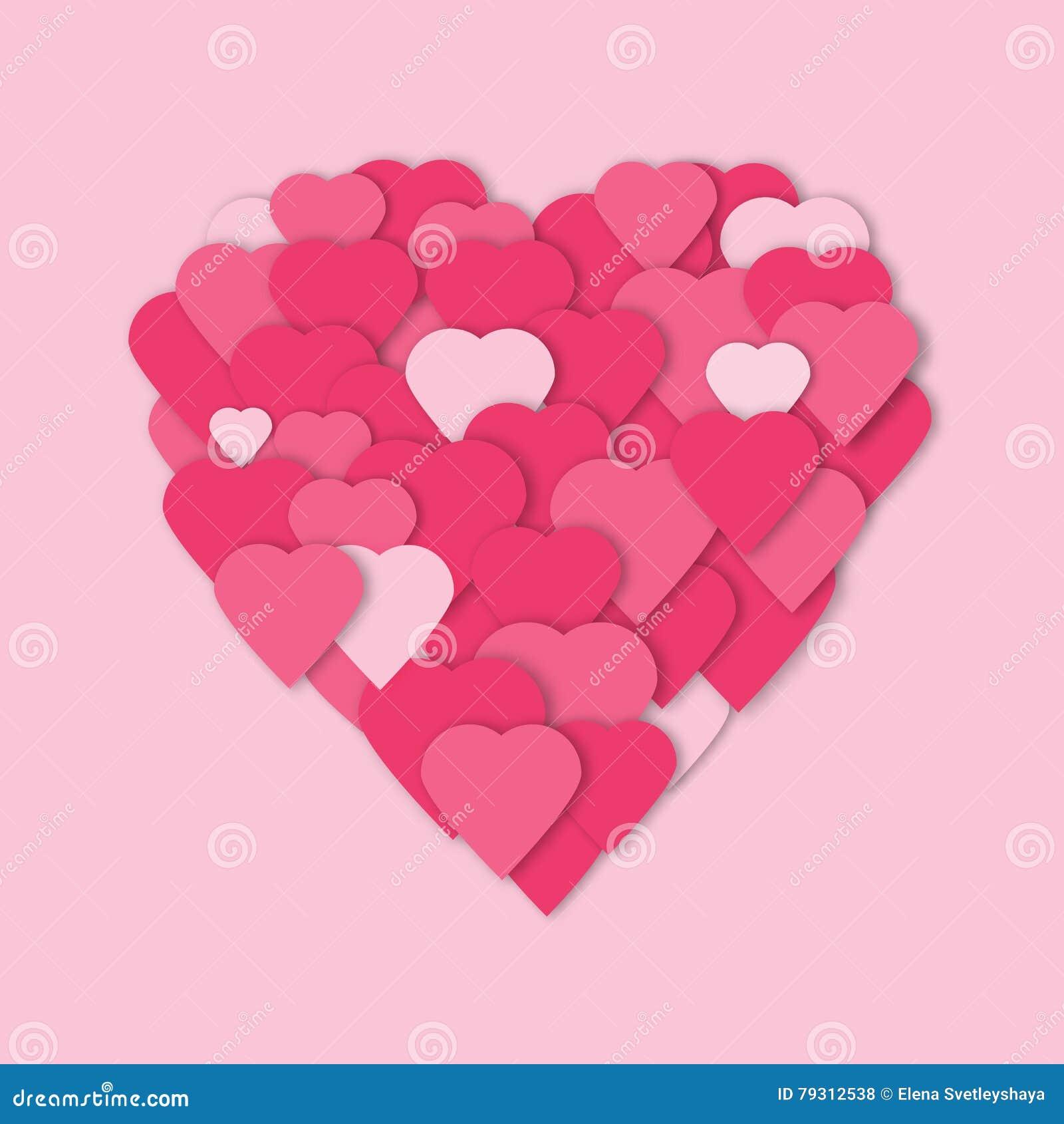 Fundo de papel cor-de-rosa brilhante do vetor dos corações Colagem dos corações do vetor no formulário do coração