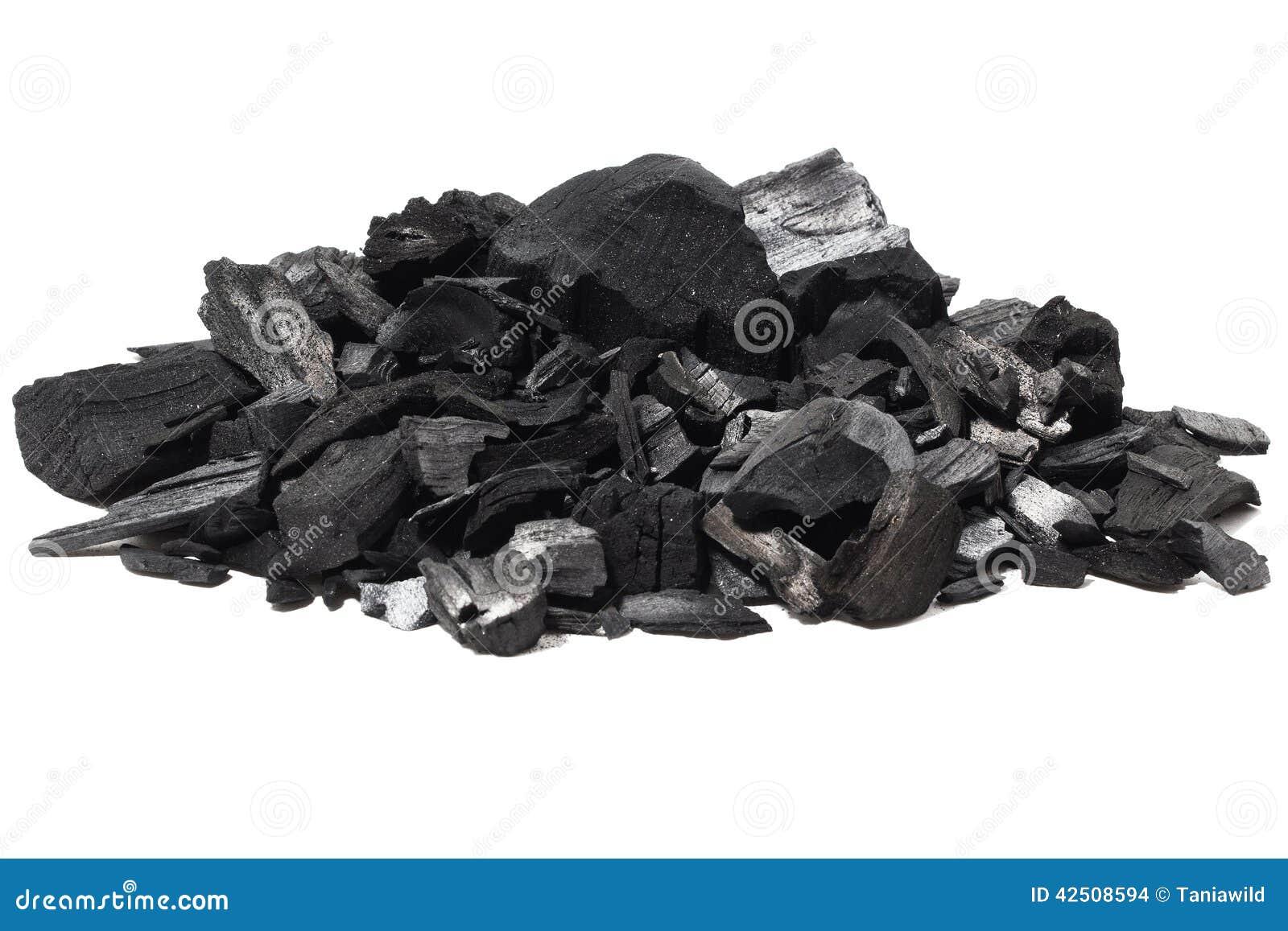 Fundo de pedra mineral de carvão isolado no branco