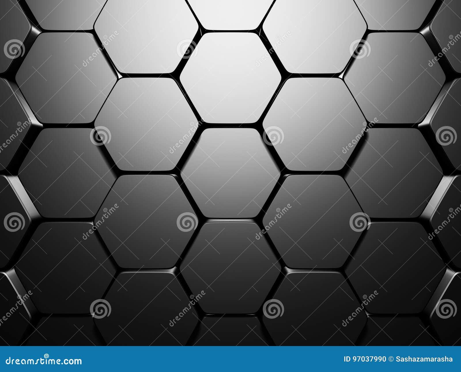 Fundo de prata metálico escuro do teste padrão brilhante do hexágono
