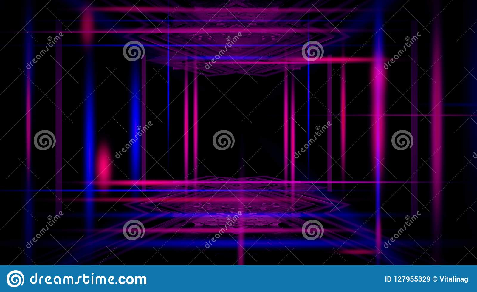 Fundo de um corredor preto vazio com luz de néon Fundo abstrato com linhas e fulgor