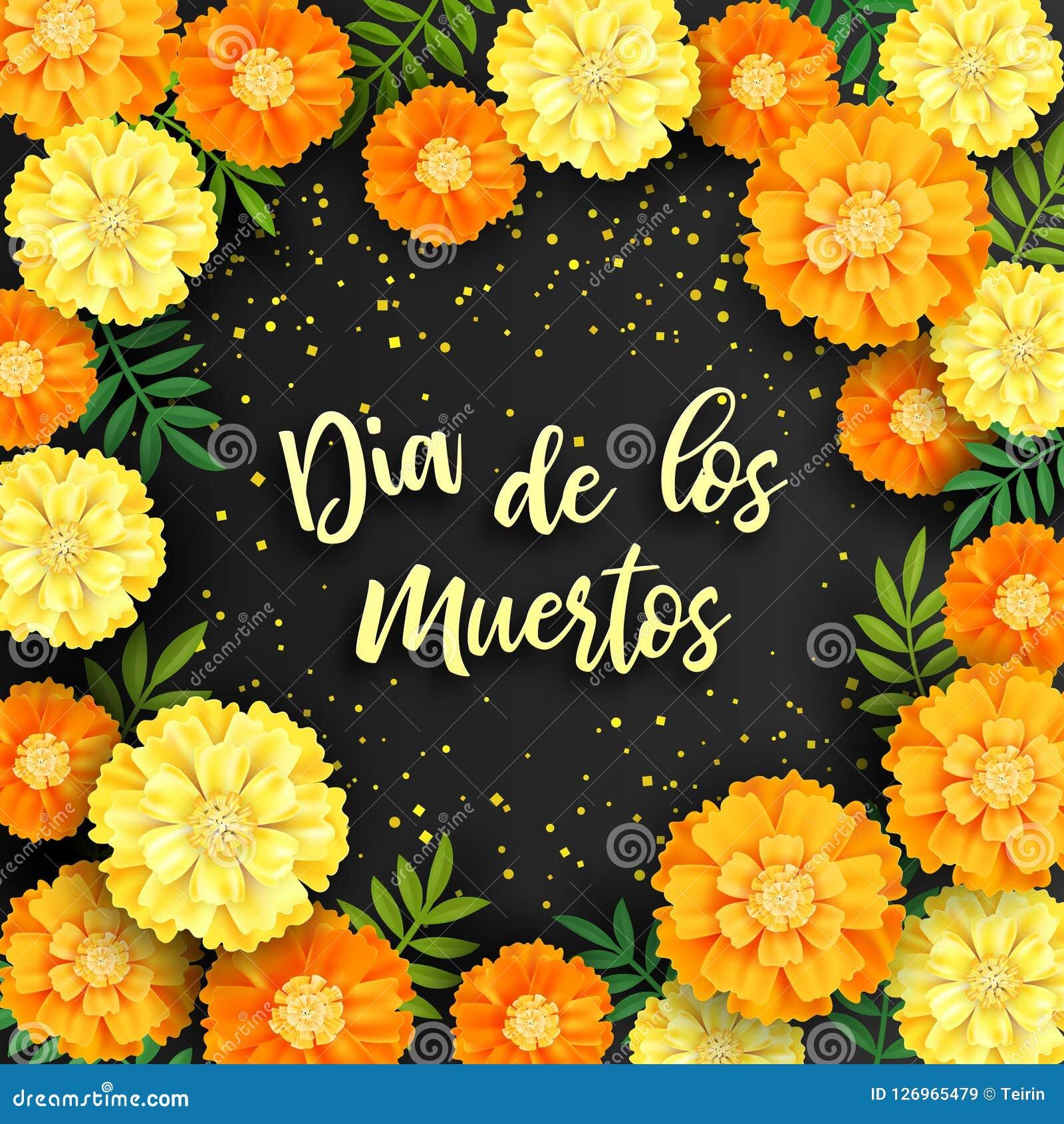 Fundo decorativo com cravos-de-defunto alaranjados, símbolo do dia mexicano do feriado dos mortos Ilustração do vetor
