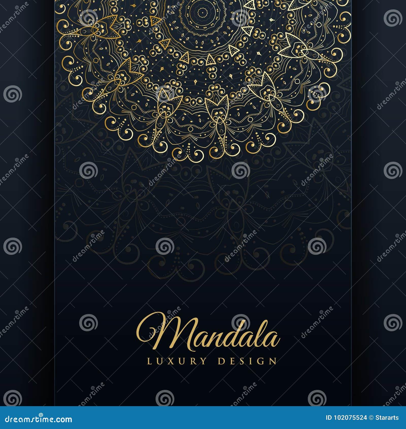 Fundo decorativo luxuoso do projeto da mandala na cor do ouro