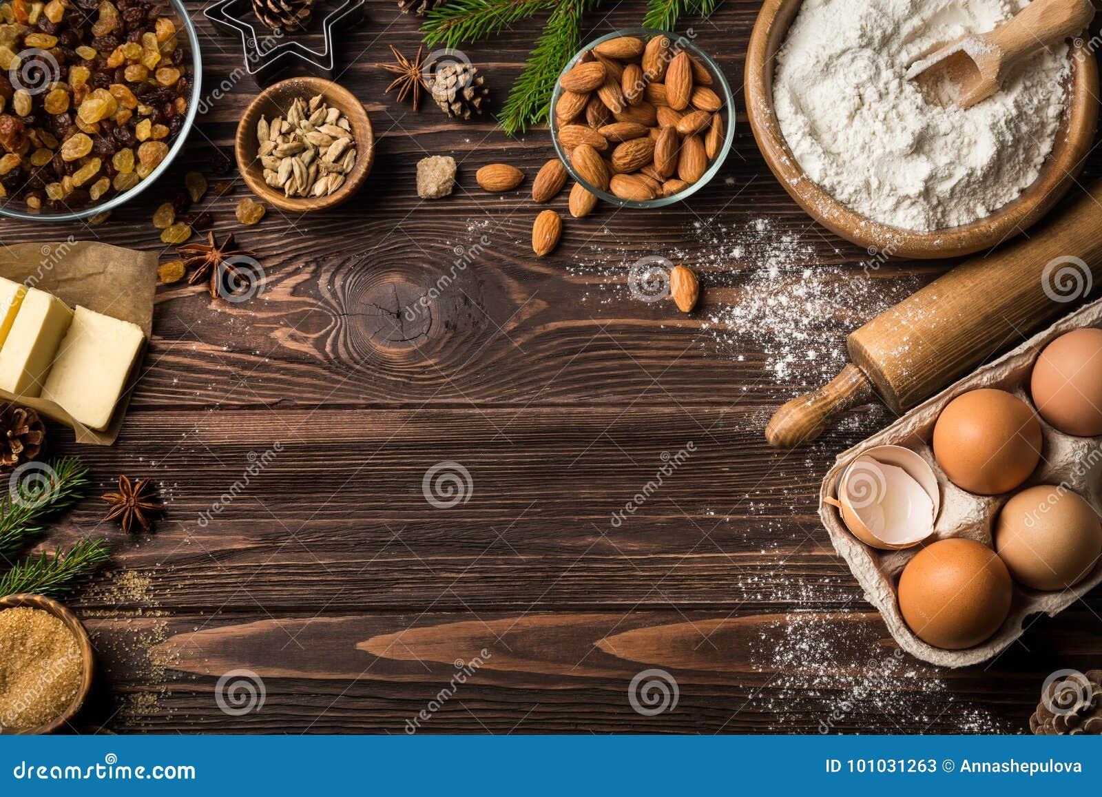 Fundo do alimento do Natal Tabela com ingredientes do cozimento