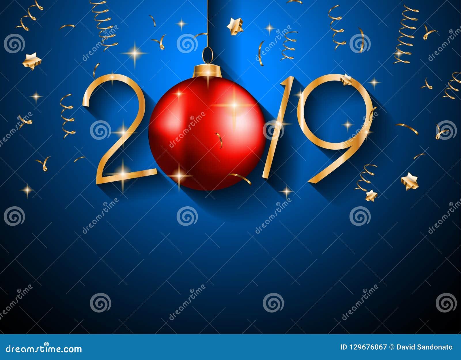 Fundo do ano 2019 novo feliz para seus insetos e Gree sazonais
