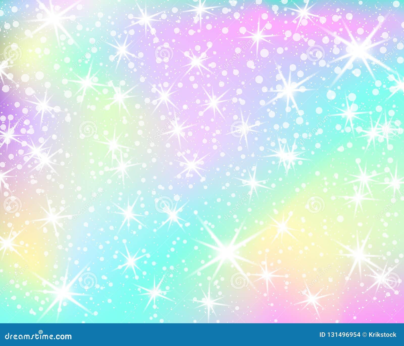 Fundo do arco-íris do unicórnio Céu holográfico na cor pastel Teste padrão brilhante da sereia em cores da princesa Ilustração do