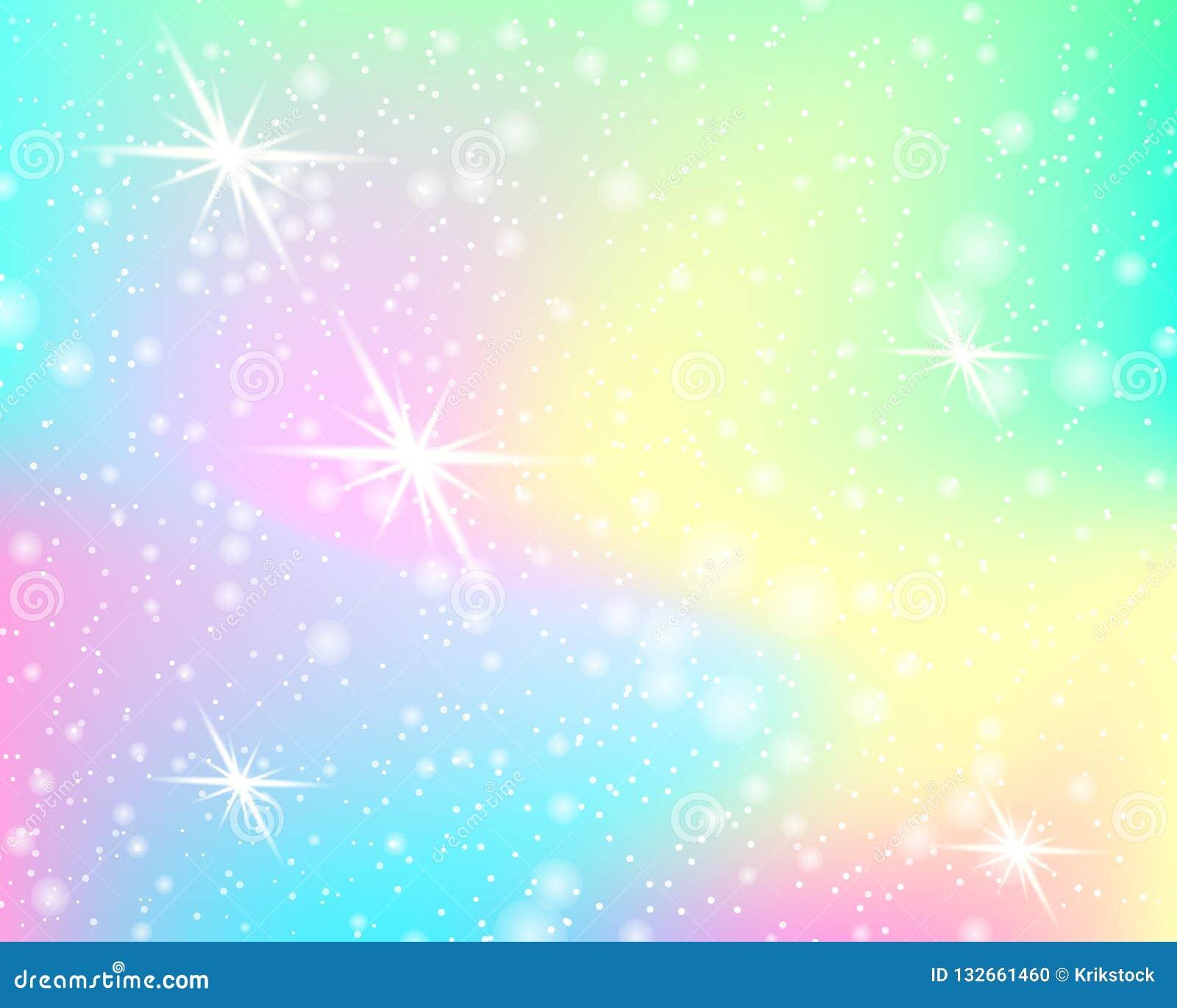 Fundo do arco-íris do unicórnio Teste padrão da sereia em cores da princesa Contexto colorido da fantasia com malha do arco-íris