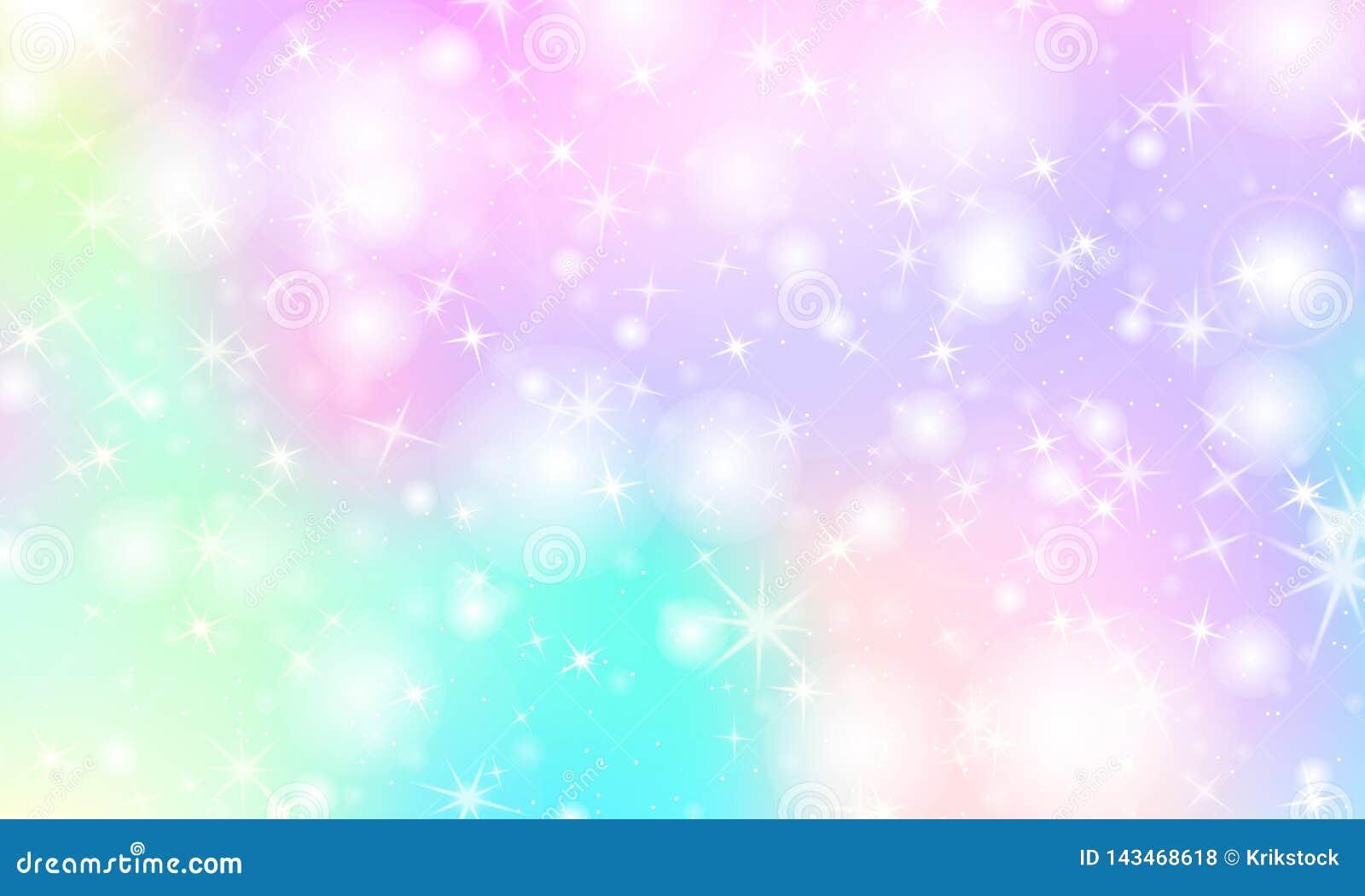Unicorn Rainbow Background. Holographic Sky Ilustração do ...