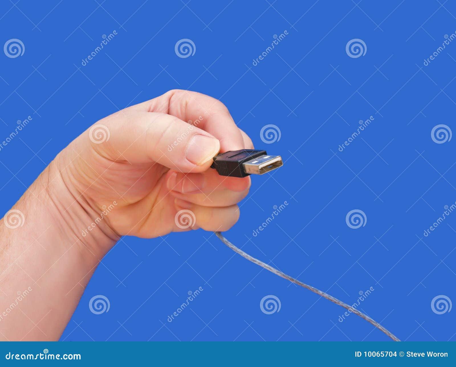 Fundo do cabo 1-Blue do USB da terra arrendada da mão