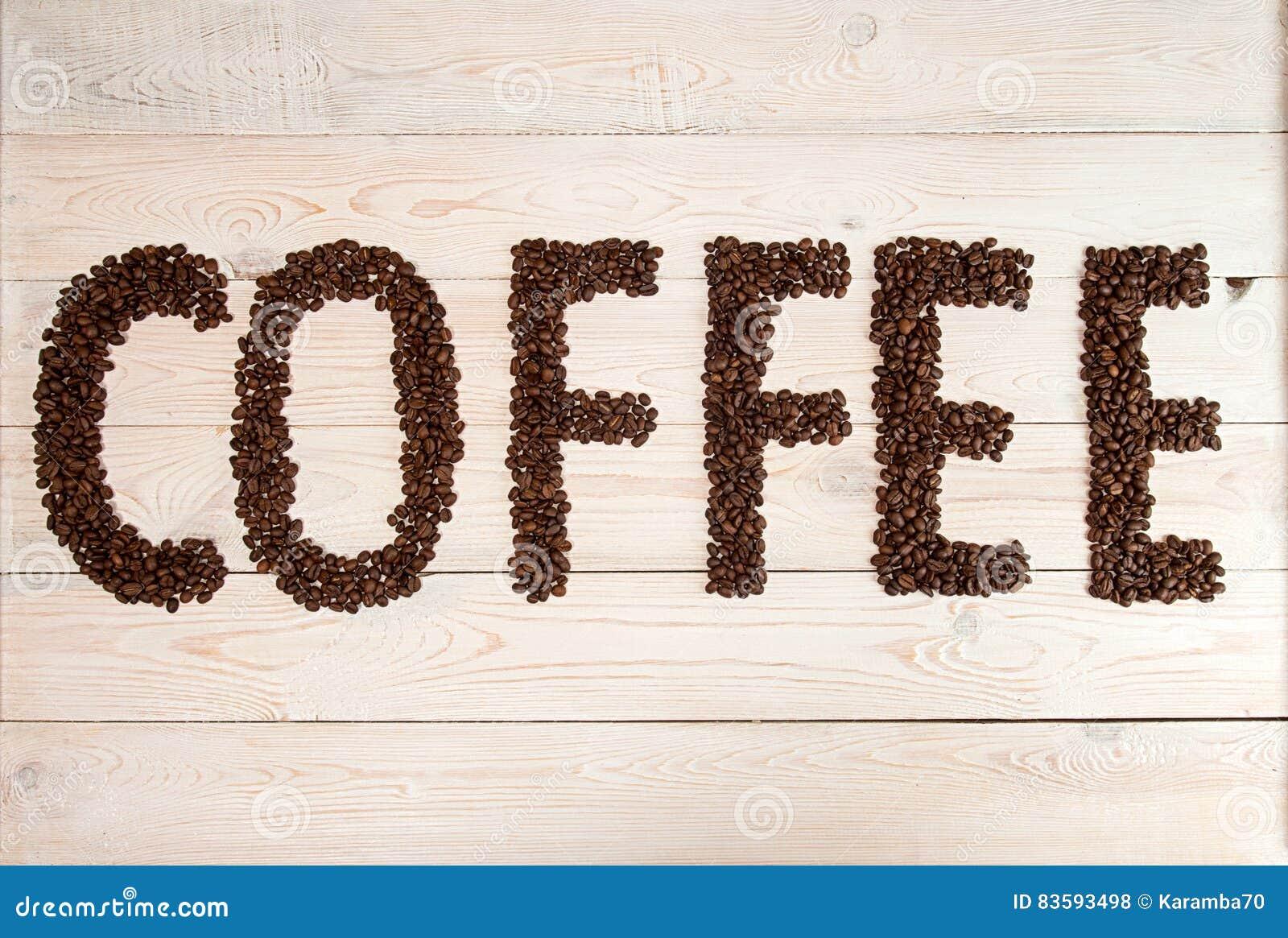 Fundo do café Feijões de café com café do texto