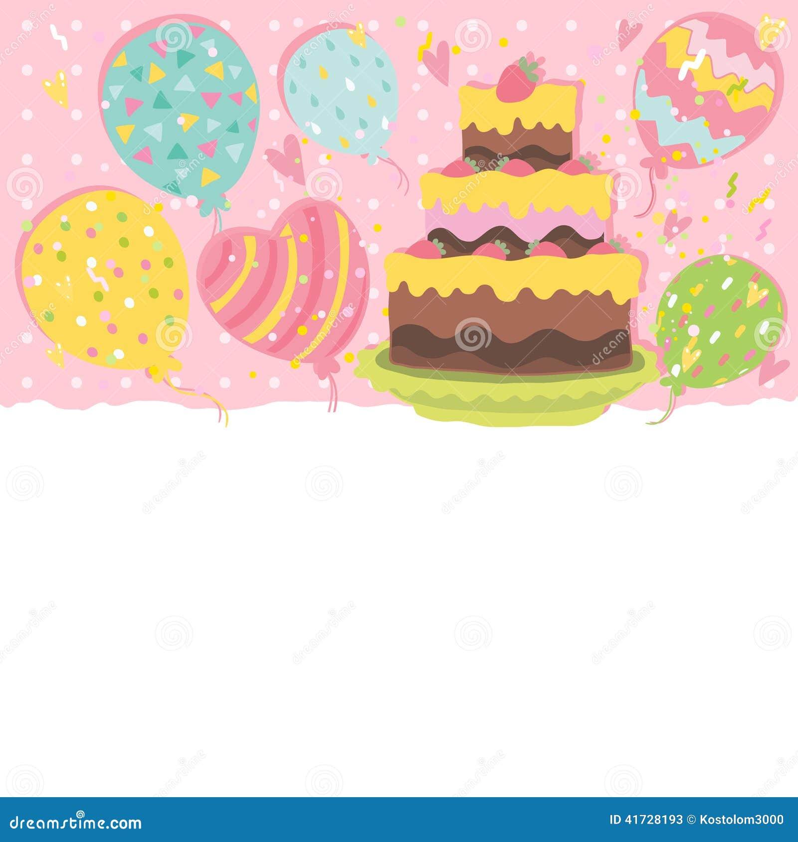 Fundo Do Cartão Do Feliz Aniversario Com Bolo Ilustração do Vetor ... 54a9532b24a0e