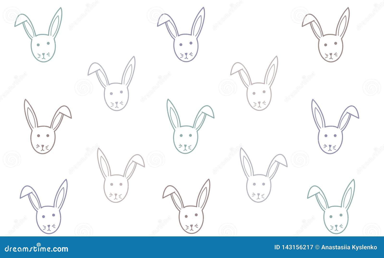 Fundo do coelho do vetor Textura da Páscoa Cartão doce feliz de easter Ilustração das crianças para o teste padrão, cartões, band
