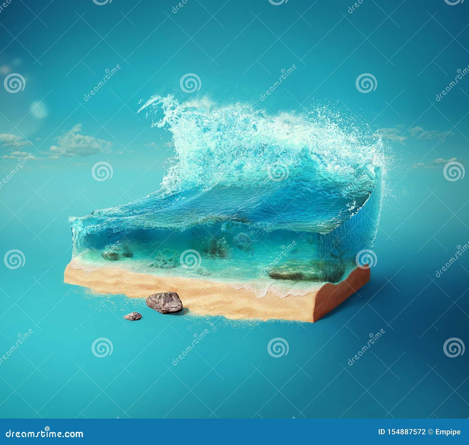 Fundo do curso e das f?rias ilustração 3d com corte da terra e do mar bonito debaixo d água Mar do bebê isolado no azul
