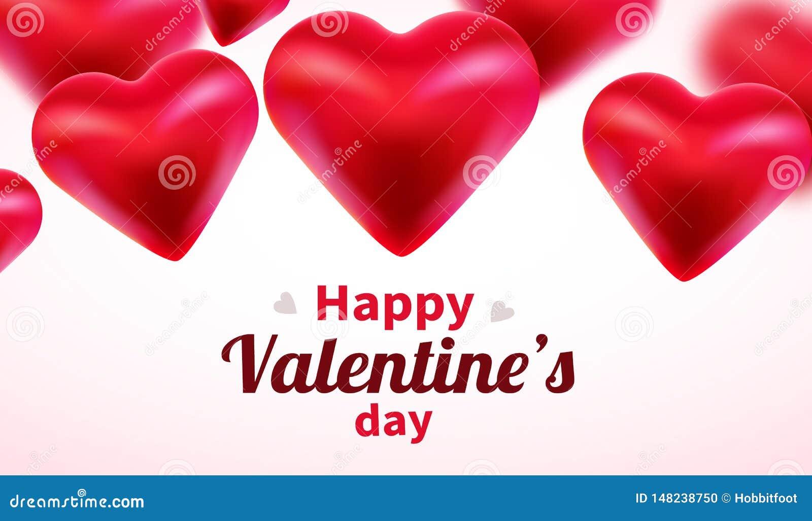 Fundo do dia de Valentim com cora??es 3d vermelhos Bandeira bonito ou cart?o do amor Lugar para o texto Dia feliz dos Valentim