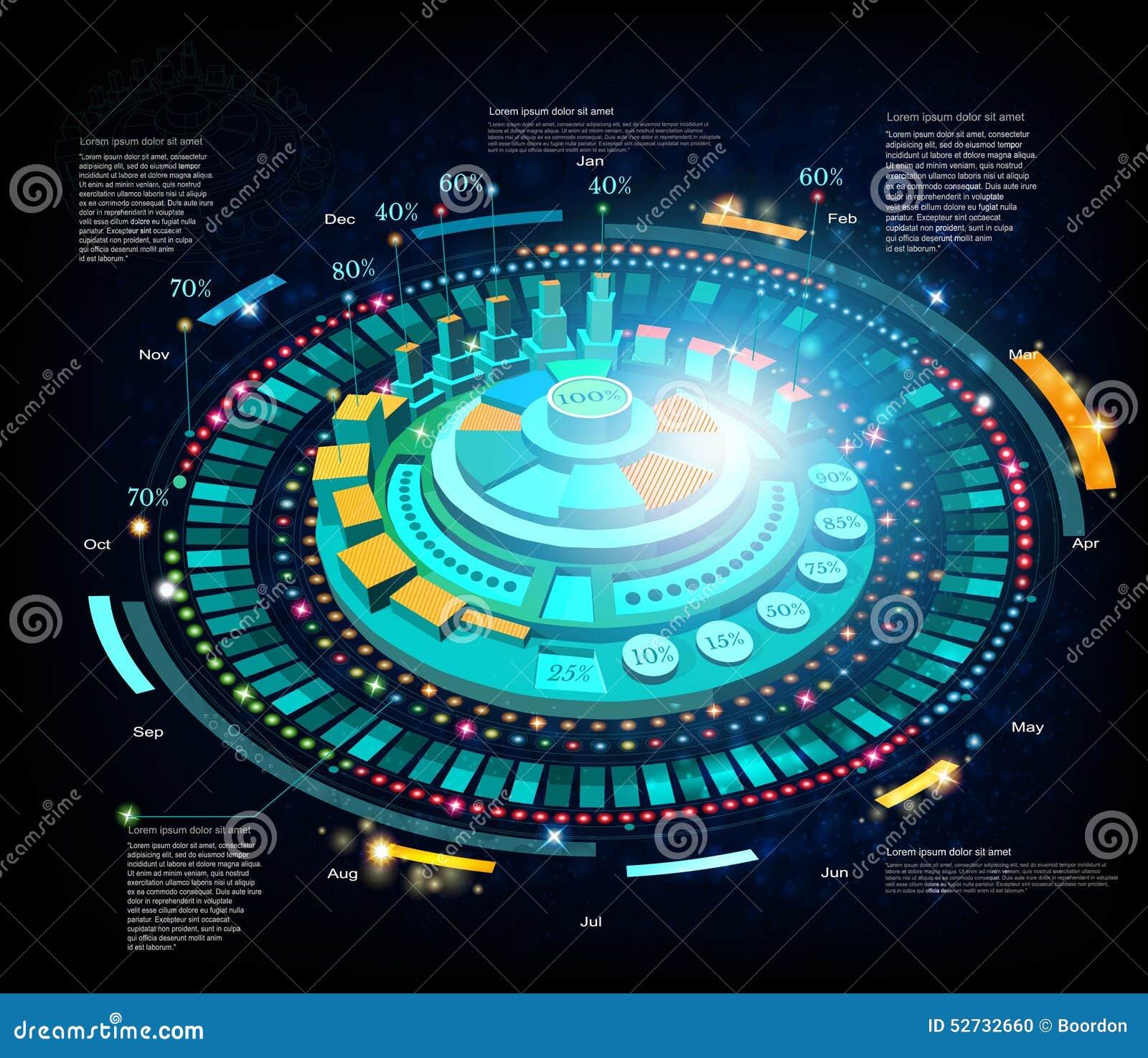 Fundo do espaço ou relação futurista da alta tecnologia infographic