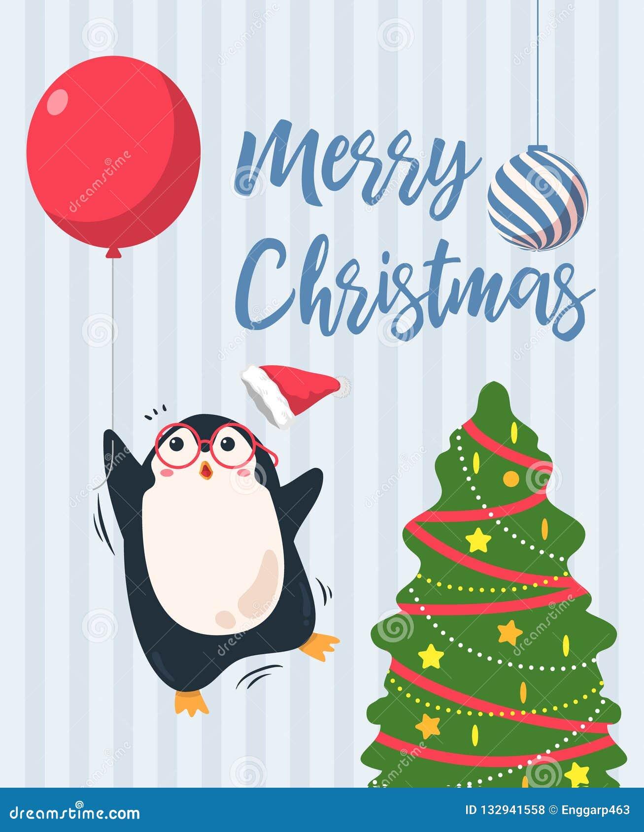 Fundo do Feliz Natal Mosca bonito dos desenhos animados do pinguim afastado com balão vermelho cartão do Natal da árvore da ilust