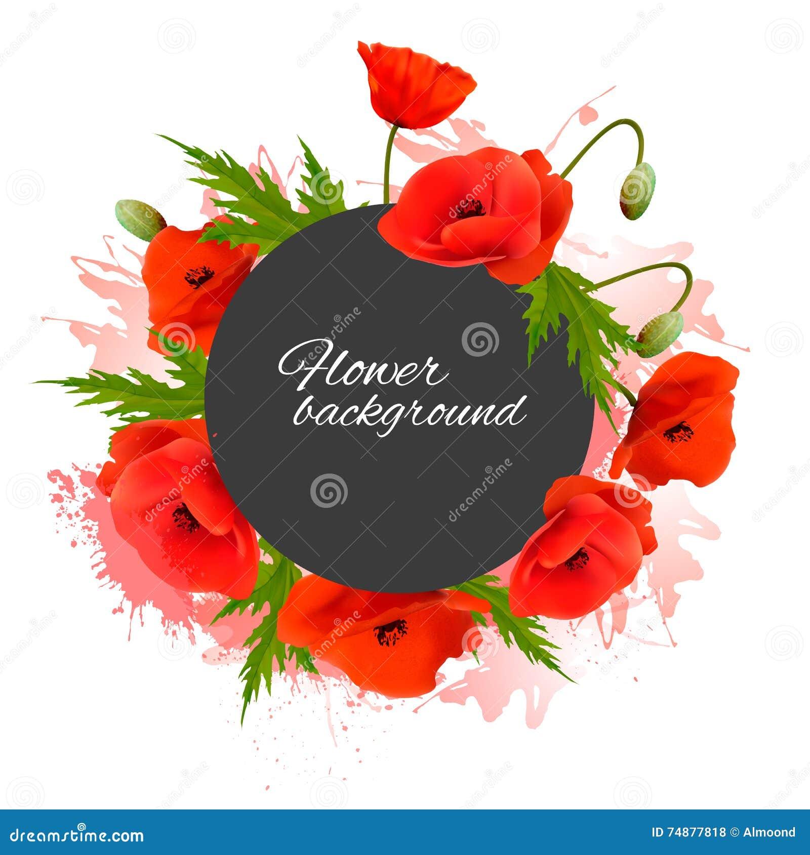 Fundo do feriado com flores vermelhas