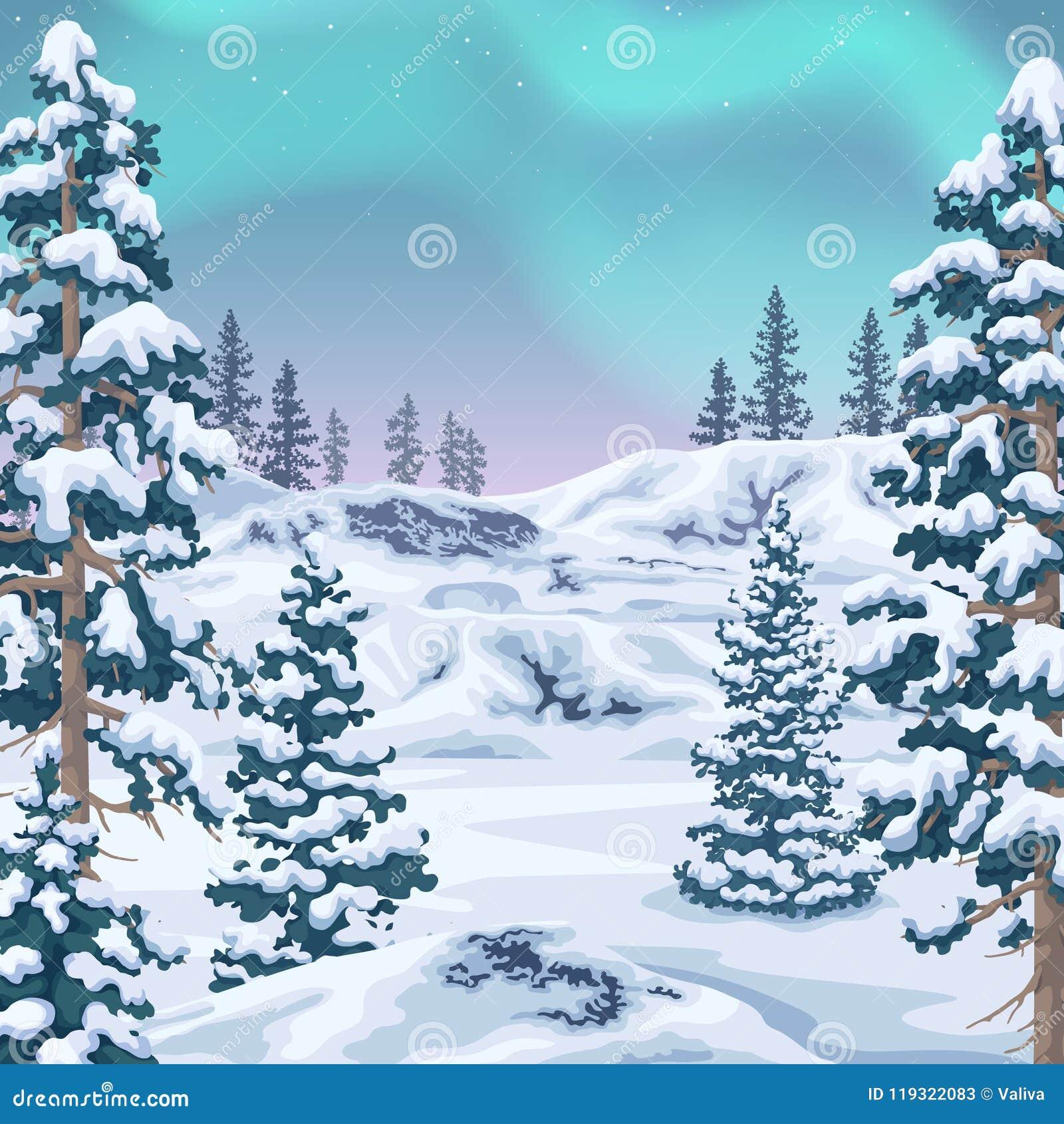 Fundo do inverno com Aurora Borealis