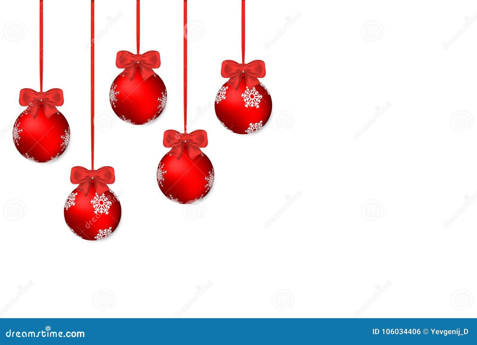 Fundo do Natal Fundo branco do feriado com as bolas e curvas vermelhas do Natal