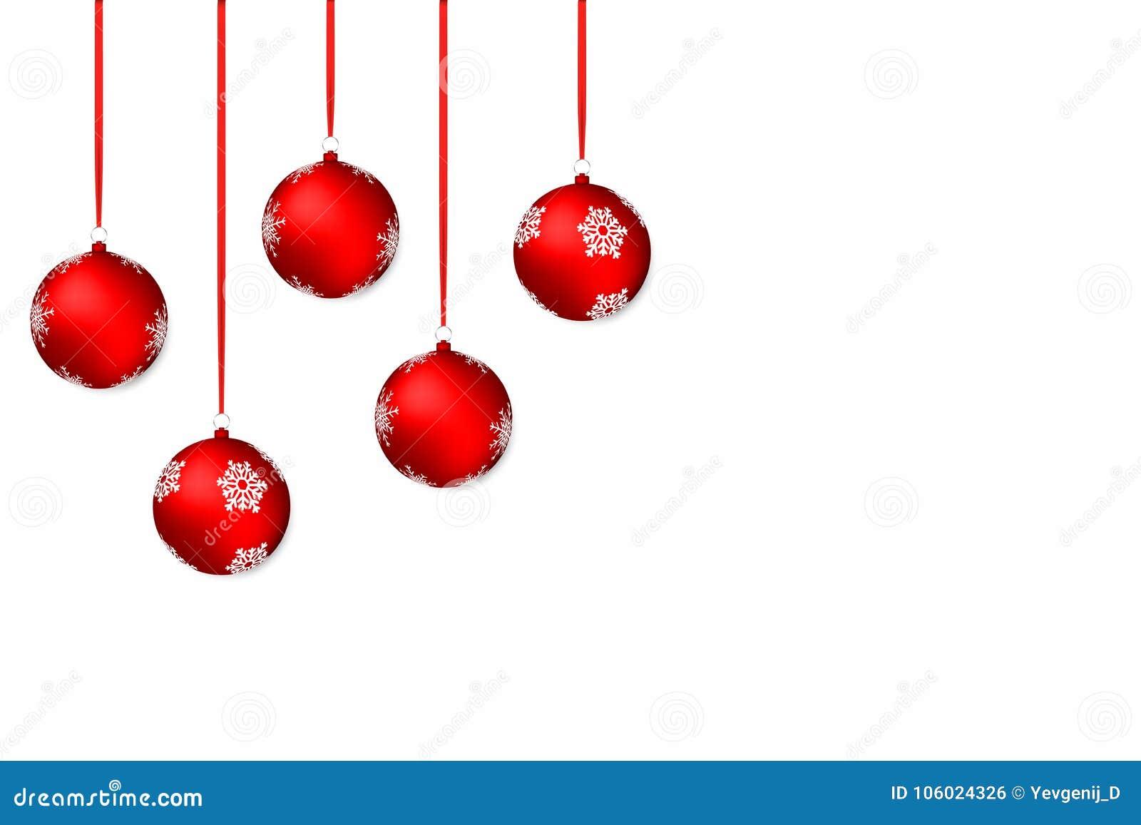 Fundo do Natal Fundo branco do feriado com as bolas e as fitas vermelhas do Natal