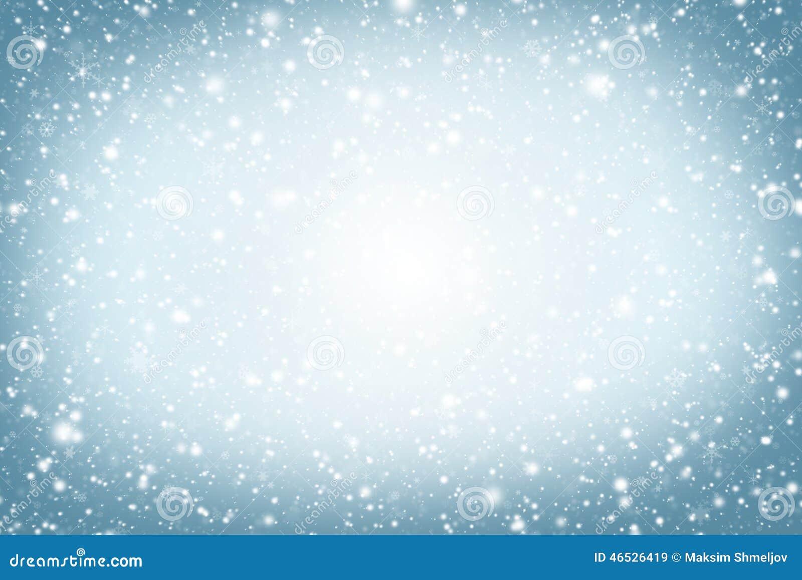 Fundo do Natal Céu, flocos de neve e estrelas do inverno