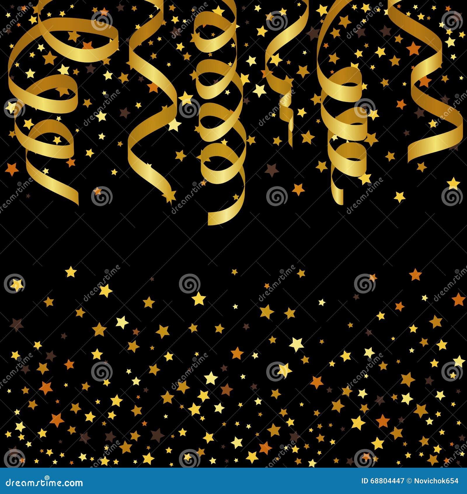 Fundo do Natal com flâmulas do ouro e confetes da estrela