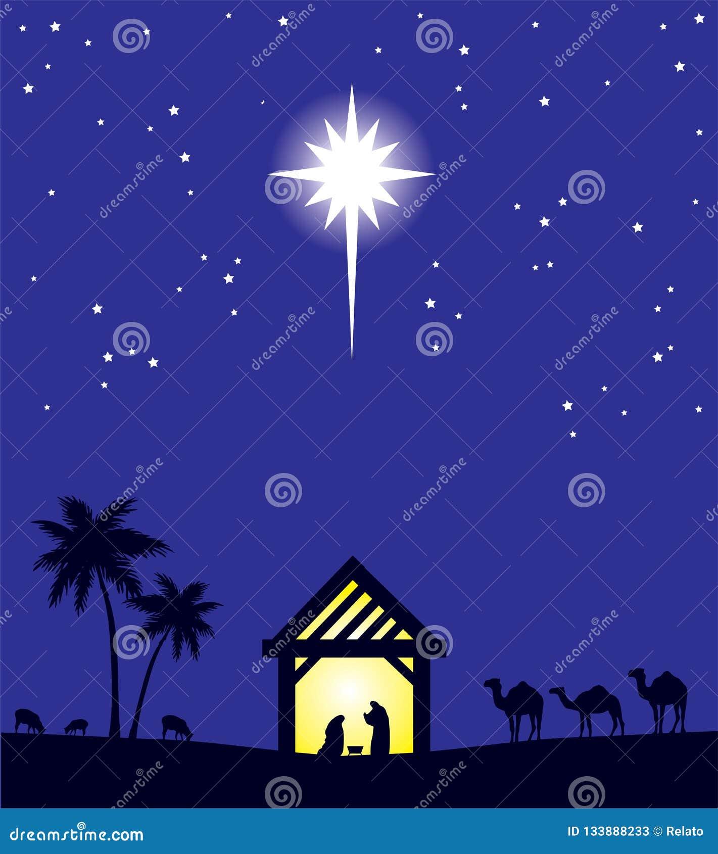 Fundo do Natal da cena da natividade do vetor Estrela de Bethlehem