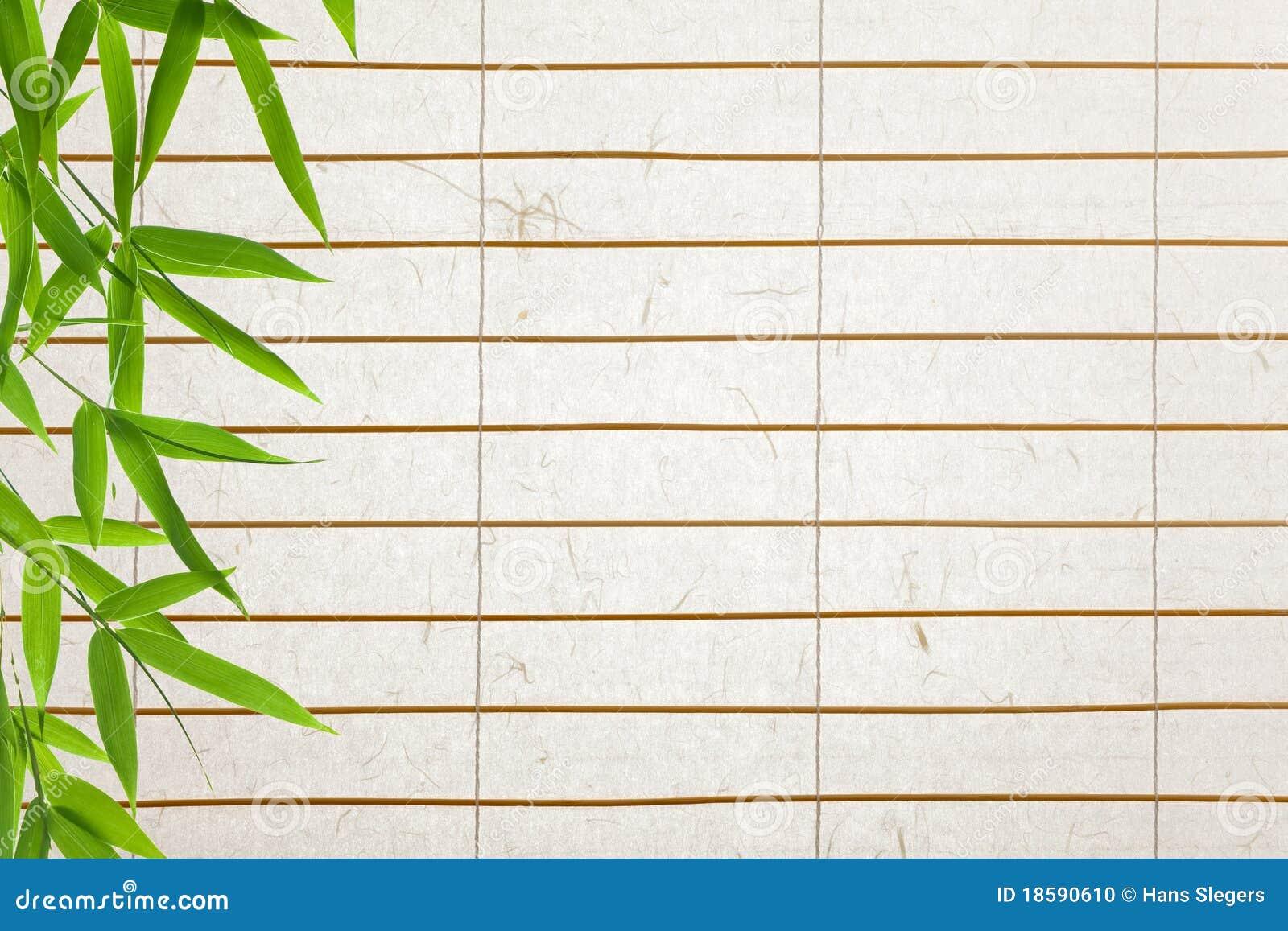 Fundo do papel de arroz com folhas de bambu foto de stock - Cortina de bambu ...