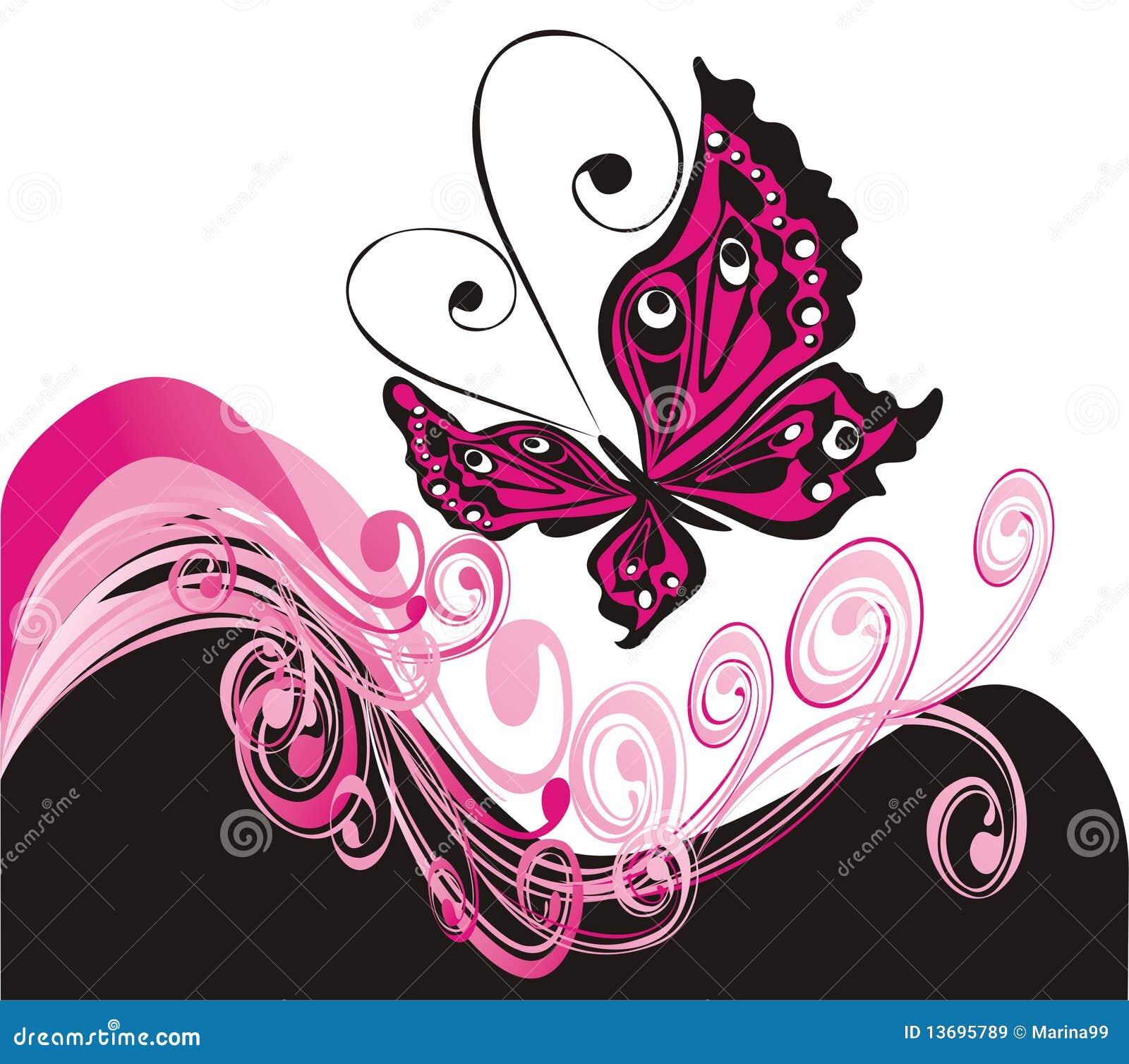 Fundo do verão do vetor com borboleta