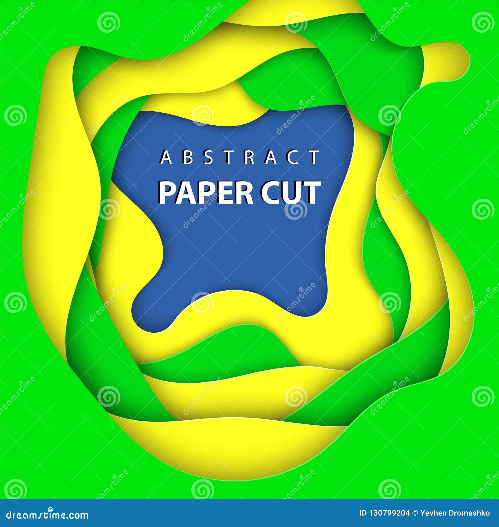 Fundo do vetor com formas brasileiras do corte do papel das cores da bandeira