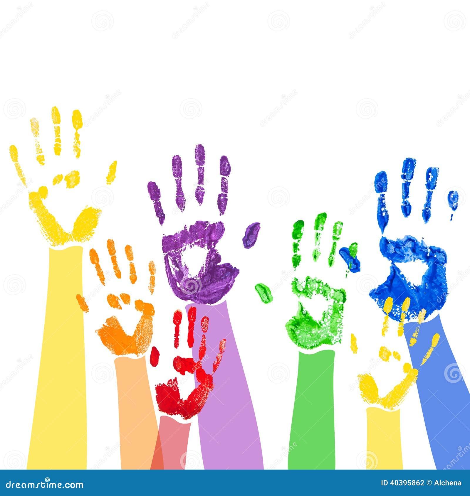 Fundo do vetor com mãos coloridos da pintura