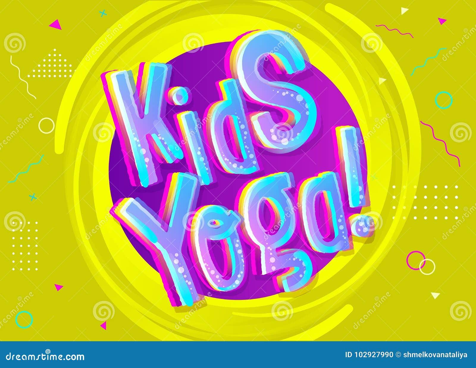 Fundo do vetor da ioga das crianças no estilo dos desenhos animados Sinal engraçado brilhante
