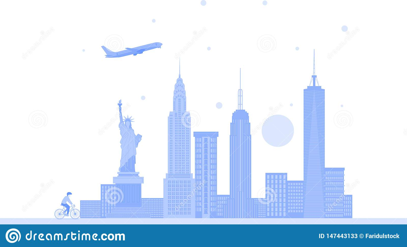 Fundo do vetor da skyline da cidade do Estados Unidos de New York Ilustra??o na moda lisa