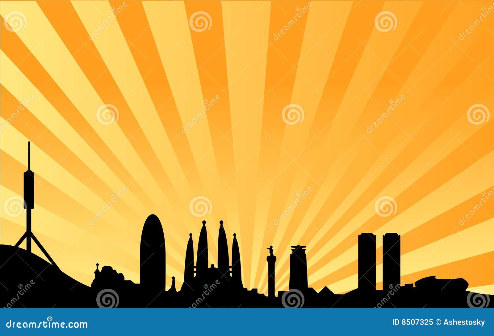 Paella on white vector stock vector image 68986544 - Fundo Do Vetor Da Skyline De Barcelona Foto De Stock Royalty Free