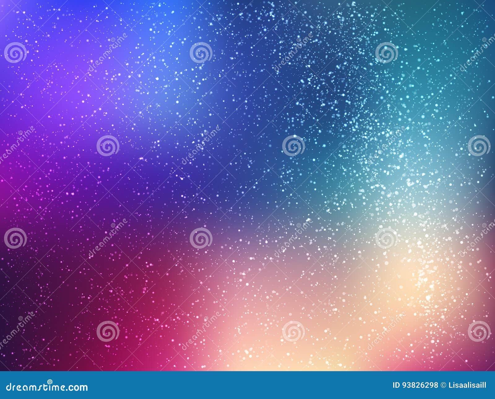 Fundo do vetor de espaço com estrelas Ilustração do universo Contexto colorido do cosmos com claster das estrelas