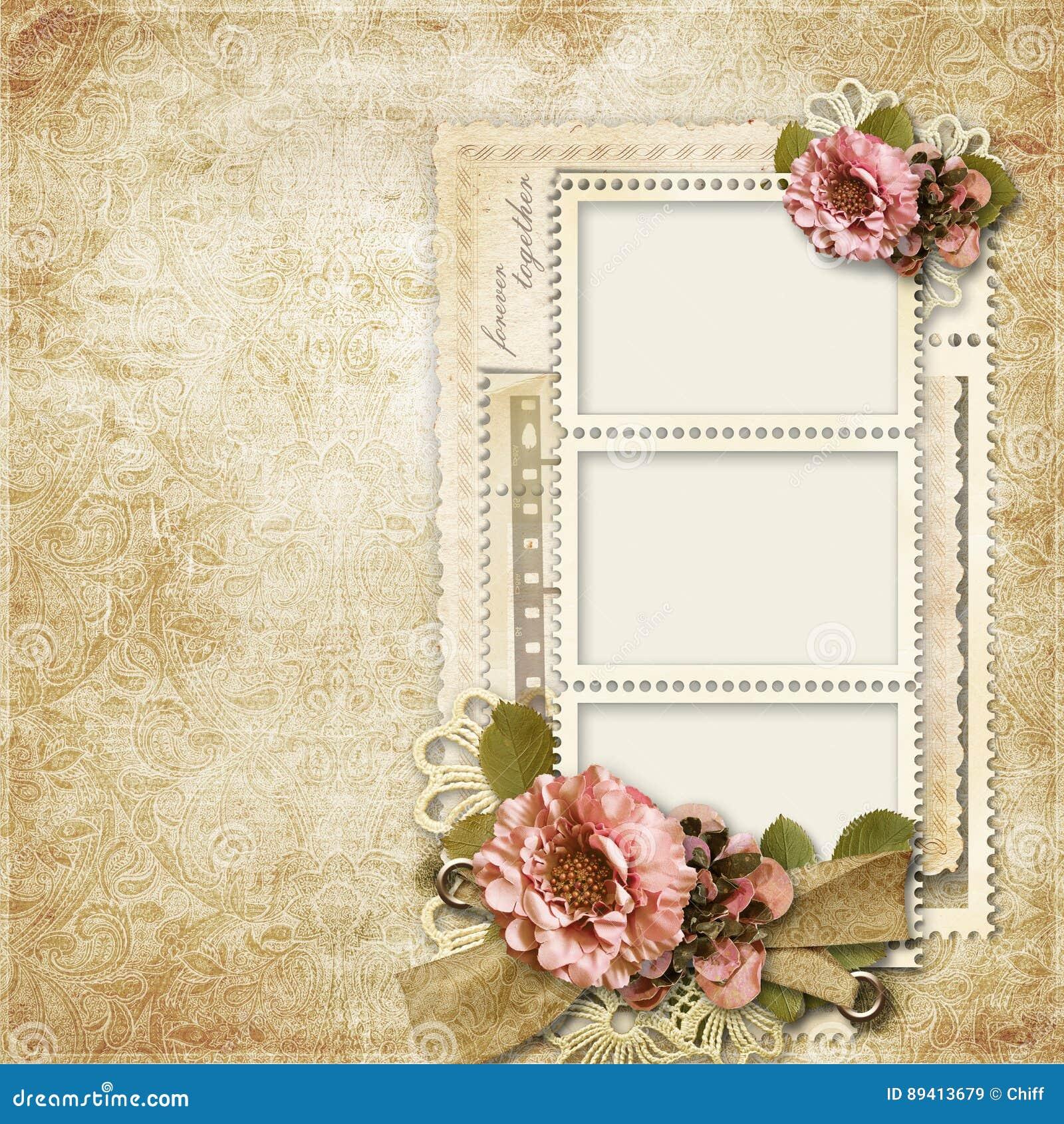 Fundo do vintage com quadros para fotos e flores