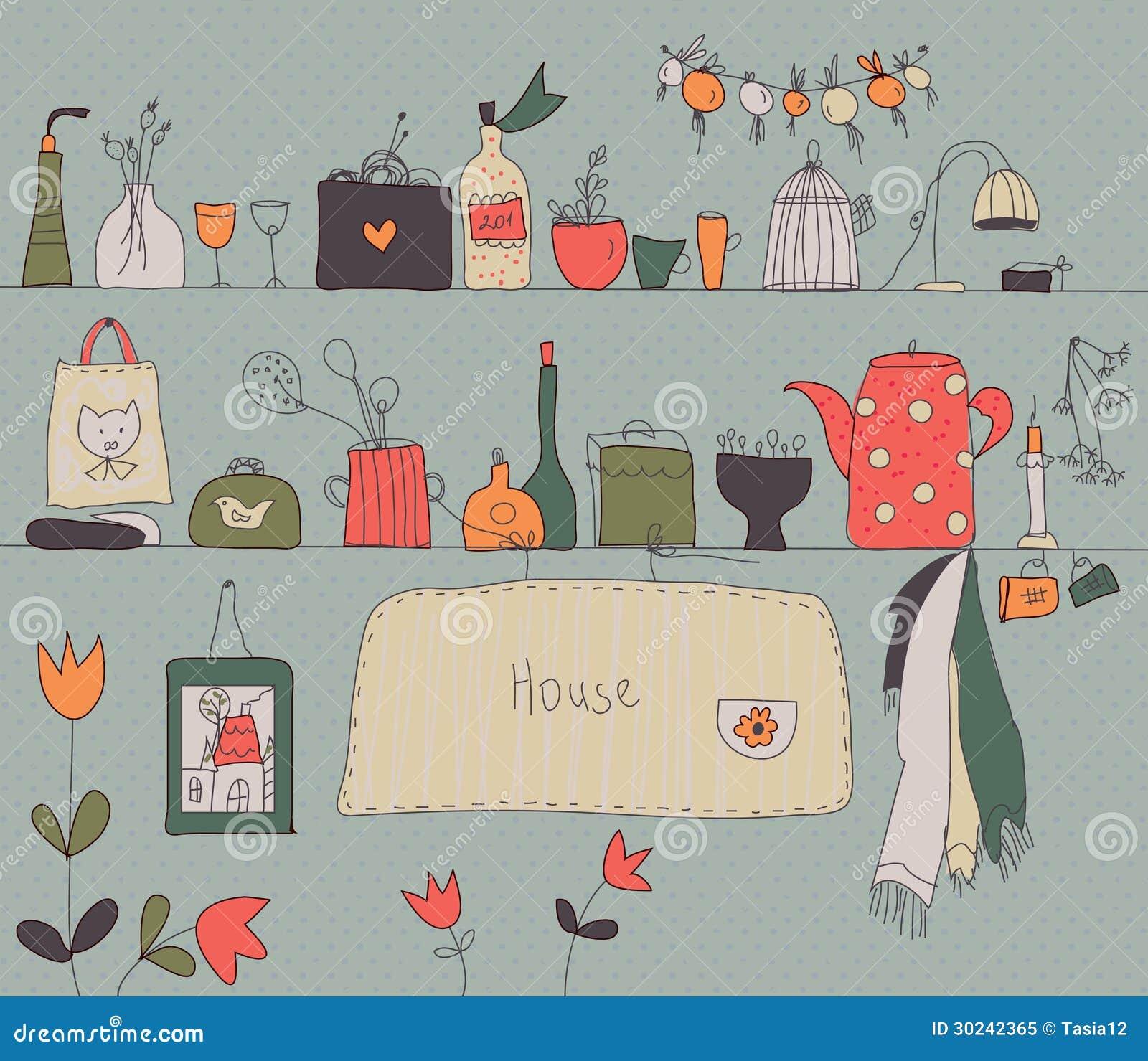 Fundo do vintage da prateleira da cozinha ilustra o do for Utensilios de cocina vintage