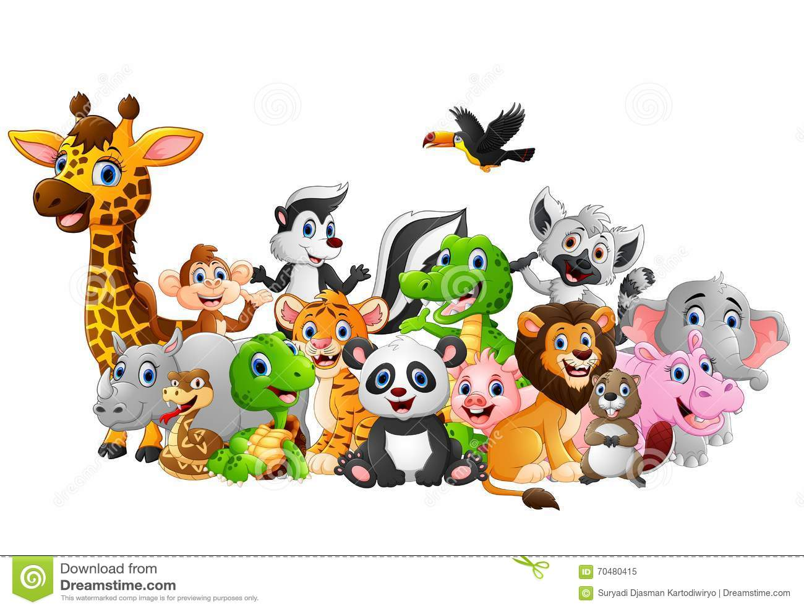 Fundo Dos Animais Selvagens Dos Desenhos Animados Ilustracao Do