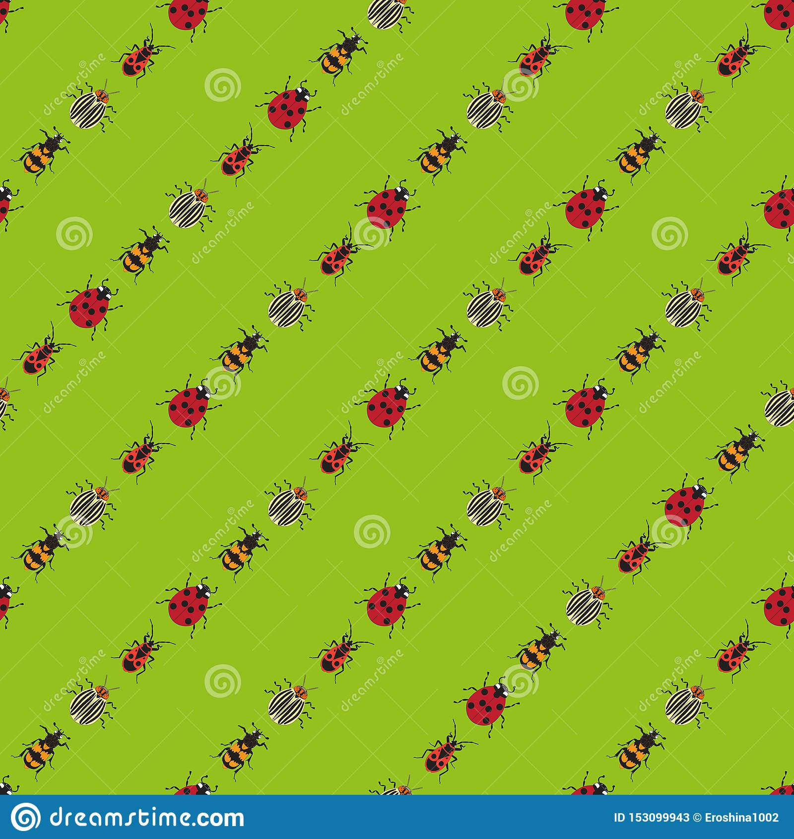 Fundo dos besouros em claro - fundo verde