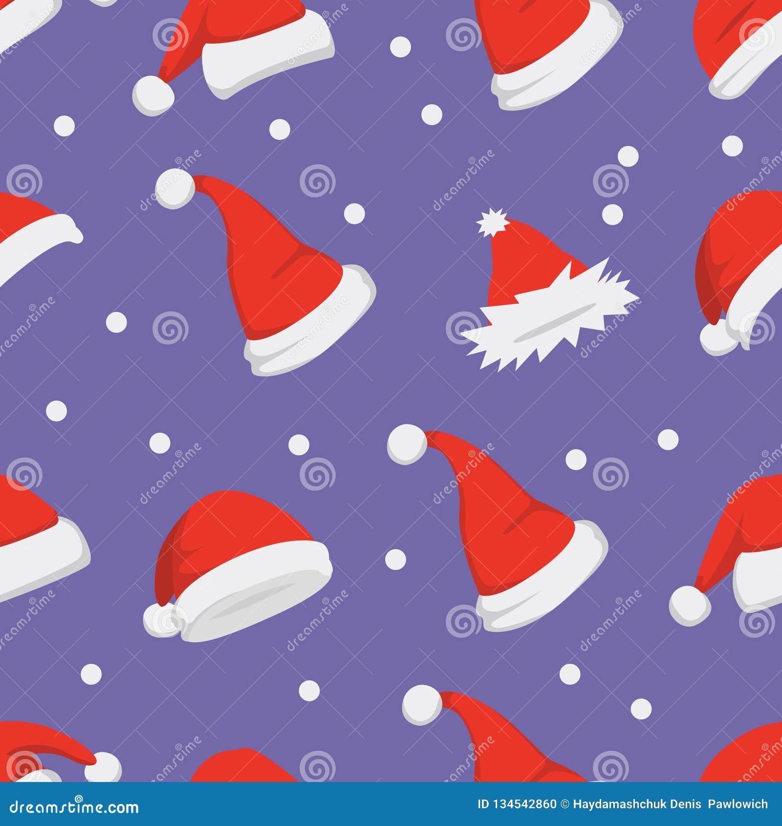 Fundo dos chapéus de Santa Vetor sem emenda do teste padrão do Natal Chapéu vermelho dos desenhos animados do ano novo