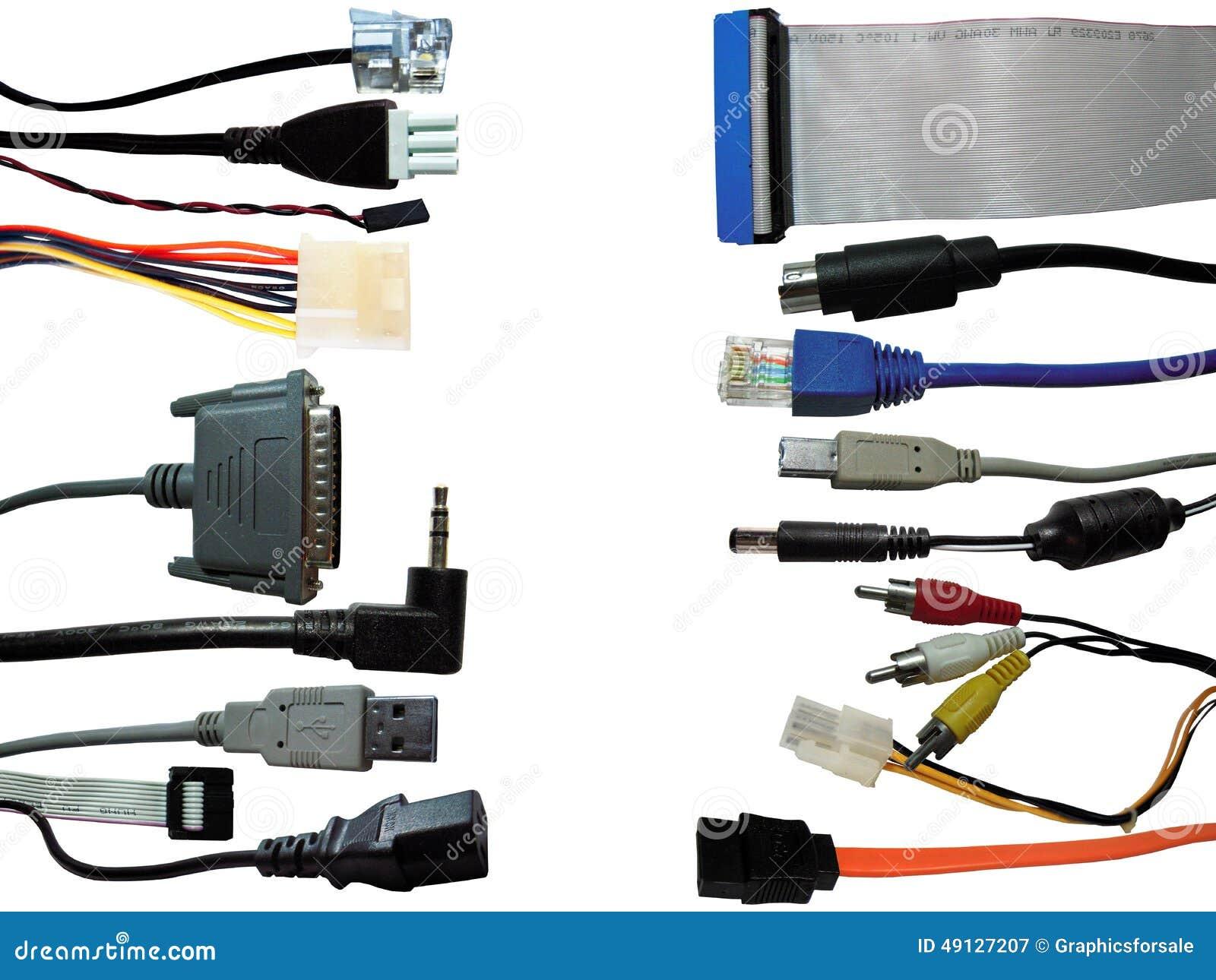 Fundo dos conectores do computador